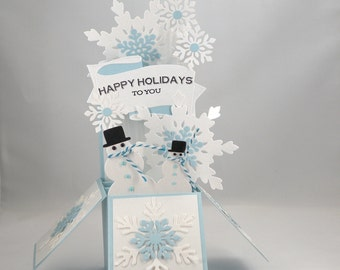3D Snowman Christmas Card,  Box Card in Blue and White