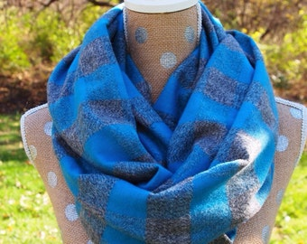 Premium Flannel Plaid Infinity Scarf Beautiful blue and grey plaid women FREE gift wrapping FAST shipping