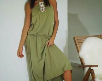 Long Dress, Women long dress, Olive green dress, beaded dress