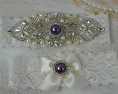 Bridal Garter, Wedding Garter Set, Ivory Stretch Lace, Vintage  Garters, Purple garters