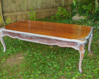 FREE SHIPPING Mid Century French Provincial Coffee Table with Roses & Distressed Whitewashed Beach Wood SHABBY Chic