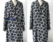 Vintage Silk Dress long sleeves, navy and white, roses pattern