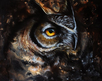 Original - Great Horned Owl Painting by Danielle Trudeau 16x20 Acrylic and Oil Painting Wildlife