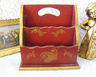 Vintage wooden mail organizer/holder - Shabby Chic - Paisley - two section Burgundy with gold leaf style