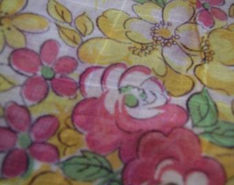 Vintage 1940's, 50's Pink Yellow Floral Sheer Windowpane Fabric, 1 yard plus
