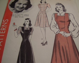 Vintage 1940's Hollywood 9592 Pinafore Jumper and Blouse Sewing Pattern, Size 14 Bust 32