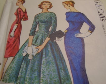 Vintage 1950's McCall's 3820 Dress Sewing Pattern, Size 16, Bust 36