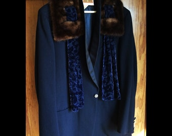 Tuppence-Midnight Blue Vintage Tuxedo with Vintage Rhinestone Buttons, Vintage Fur Collar and Acid Etched Scarf