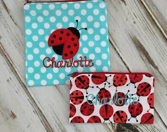 Ladybug Applique on Personalized Reusable Sandwich & Snack Bags with Zipper Closure