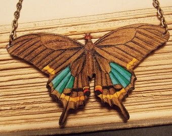 Brown and Bronze Wooden Moth Statement Necklace