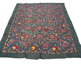 5.05' x 6.23' Suzani Embroidery Suzani Hanging Suzani Table Cover Uzbek Suzani Cover Ethnic Suzani FAST SHIPMENT with ups or fedex - 08420