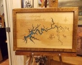 Wood Laser Cut Map of Lake Cumberland, KY Topographical Engraved Map