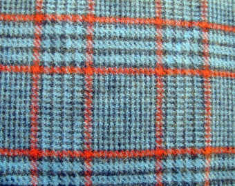 1960's Blue Hounds Tooth Wool, Plaid, Hounds Tooth, Check, Checkered, Herringbone, Blue, Red, Black, Wool, 1960's, Fabric Piece
