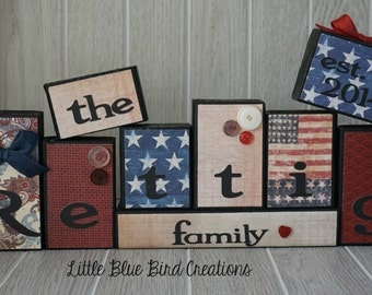 Personlized wood block set - family name blocks - name sign - home decor - wood letters  - family gift - wood letters