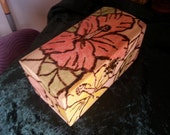 Jewelry Box, Hibiscus, Stained Glass Inspired Design