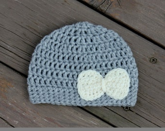 Baby Girl Crochet Hat, Toddler Girl Crochet Hat, Gray and Cream Baby Hat