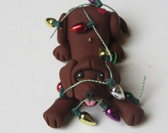 Labrador Retriever Dog Christmas Ornament Polymer Clay Chocolate