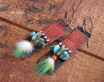 RESERVED-Tribal earrings-vintage grunge-exo-vintage earrings-amber print on copper-orange and turquois-feather and turquoise-Ethnic earring
