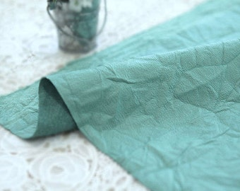 Fake Leather Fabric, Imitation Leather, Artificial Leather, Synthetic Leather Fabric - Blue Green - 55 Inches Wide - By the Yard 83107
