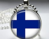 Finland Flag, Resin Altered Art Photo Silver Plated Pendant Necklace