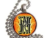"""Letter """"N"""" Art Pendant, Alphabet Resin Pendant, Vintage Initial  Photo, Silver Nickel Coin Charm Necklace"""