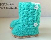 Crochet baby boots PDF pattern, crochet pattern baby boots, crochet baby shoes, Avery boots - 0-3, 3-6 and 6-12 months