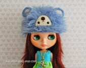 bear hat for blythe doll, crocheted kawaii fuzzy blue bear cap