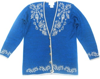 Vintage 80s Gold and Pearls Embroidered Blue Lurex Sweater Cardigan by Jaclyn Smith  Medium