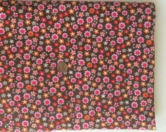 Fabric destash, cotton interlock, floral knit, mini floral print, brown orange and pink floral.