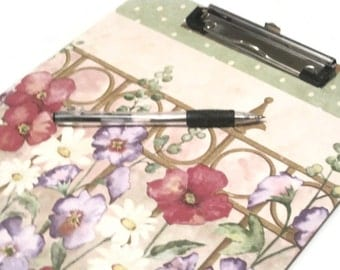 Decorated Garden Theme Clip Board, Desk Accessories, Garden Floral Gifts, Teacher Gift, Gift For Her, Decoupaged Clipboard