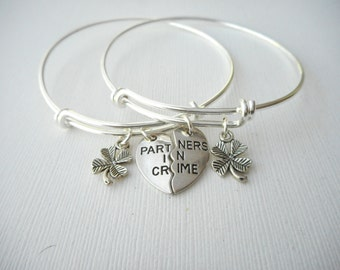 2 Partners in Crime, TINY Four Leaf Clover- Friendship Bracelets/ Bff Jewelry, Bff, Partner in Crime, Gift ideas, best friend gift, bff gift
