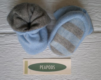 Cashmere slippers, PEAPOD baby booties, soft slippers, blue and grey, double thick 100% cashmere, size 3-9 months