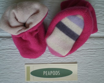 Cashmere slippers, PEAPOD baby booties, soft slippers, pink, double thick 100% cashmere, size 3-9 months