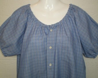 Peasant Blouse, upcycled from a men's shirt, 56 inch chest, xxL, blue plaid,LONG, cotton blouse,short sleeve blouse, ladies blouse, peasant