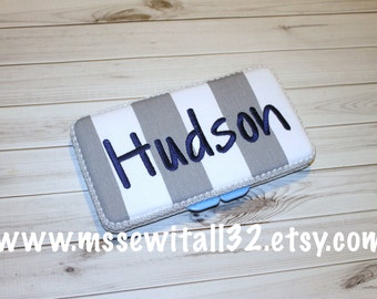 Custom Gray Stripes Diaper Wipes Case (You Pick Accent Color)