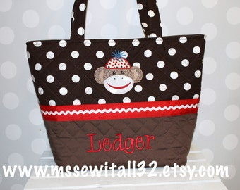 XL / Brown Polka Dot with Sock Monkey Applique Quilted Purse / Tote / Diaper Bag