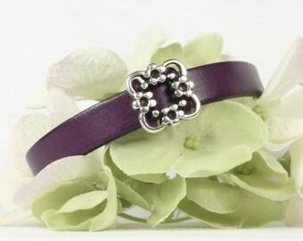 Purple leather bracelet, Silver square frame flower slider, Magnetic clasp, CarolMade L98