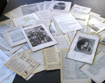 100 Vintage book pages- for art journals, collage, mixed media, junk journals, tags, smash books, and more