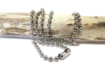 Choose a Chain, 2.4 mm, Ball Chain, Stainless Steel, Clam Clasp, 28 to 30 Inches, Jewelry Supply, Findings