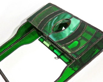 Stained Glass Trinket Box Organizer with Mirrored Base Emerald Green Art Nouveau, Emerald Jewel Tones