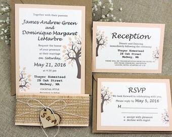 Tree Wedding Invitation Suite Rustic Wedding Invitation Suite