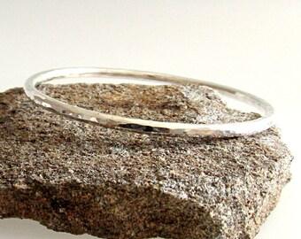 Silver Bangle Bracelet, Stackable Bangle