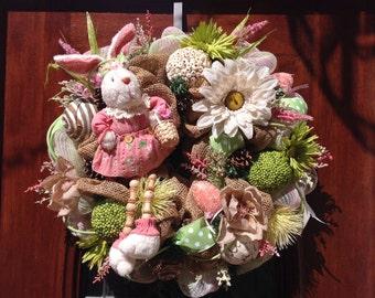 Fleece Girl Bunny Burlap and Mesh Wreath