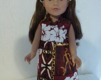 "18"" Hawaaian Doll Dress Fits American Girl, Madame Alexander and Gotz Dolls"
