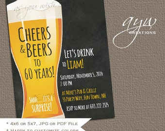 30th Birthday Party Invitation Man Cheers and Beers Birthday Party Invitation Printable Invitation Beer Chalkboard 30th Birthday Invites