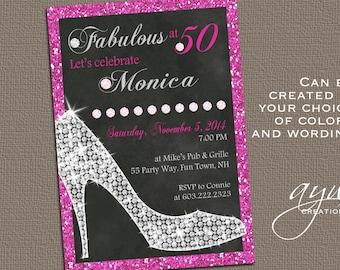 High Heels Birthday Party Invitation Printable Invitation Elegant 30th Birthday 40th Birthday 50th Birthday Party Invitation Woman Heels
