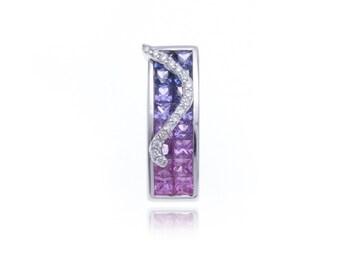 Multicolor Pink to Purple Sapphire & Diamond Pendant 18K Gold (1.87ct tw) SKU: 8533