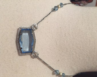 ART DECO FILIGREE Necklace Large Blue Faceted Stone Faceted Blue Beads Faux Pearls Chromium Plate Fancy Openwork Setting 1920s Vintage