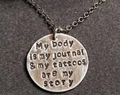 """925 Sterling Silver Handstamped 18"""" Necklace"""