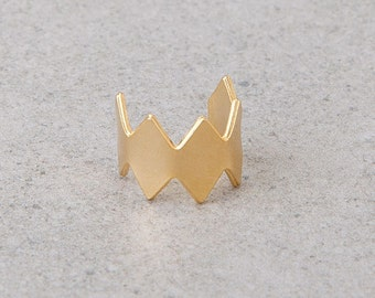 Sale, Single Ear cuff, silver or 24 K gold plated crown ear cuff